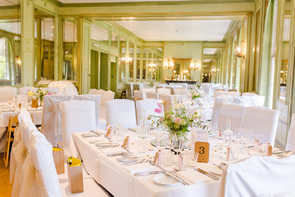 Wedding Breakfast room set up at Hotel Du Vin