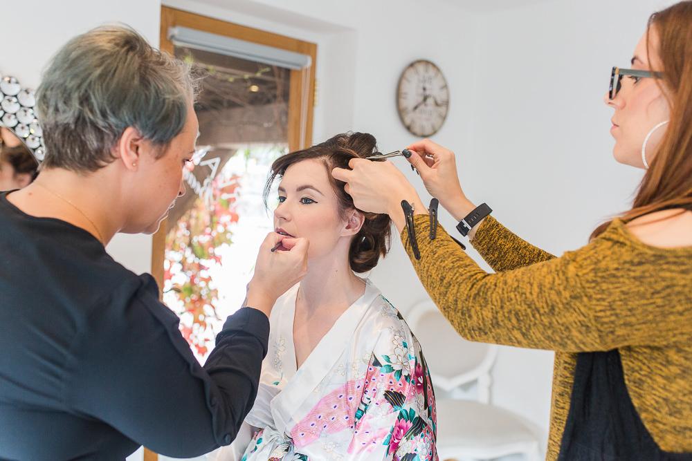 Wedding hair and make up at Rivervale Barn