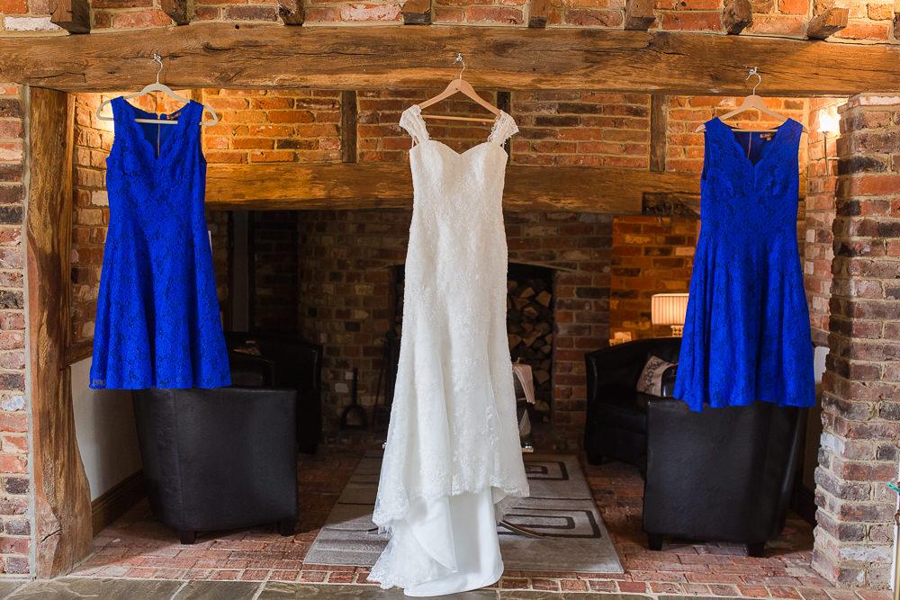 Wedding dress hanging up at Rivervale Barn