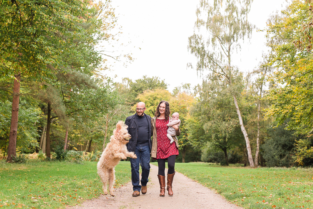natural family photo with dog at Virginia Waters
