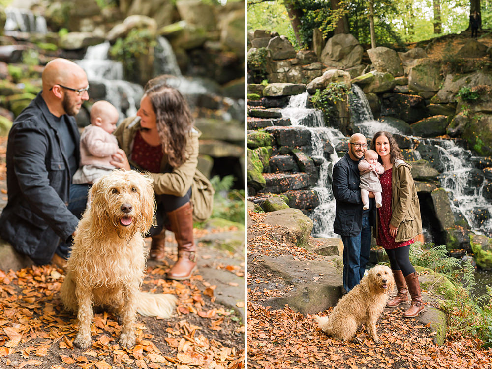 Natural family photo with baby and dog