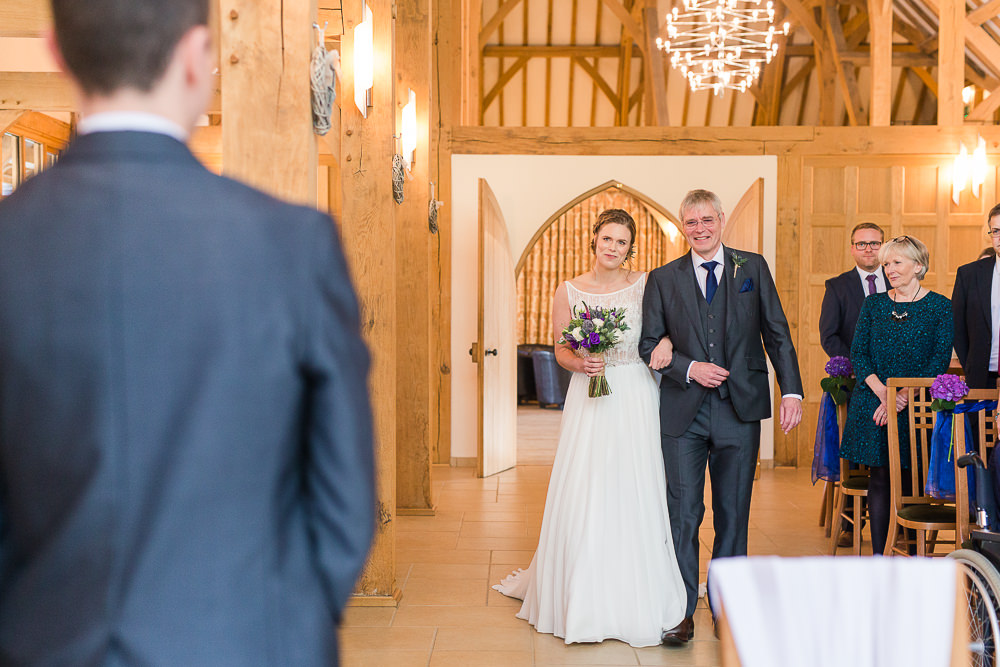 Bride sees groom for first time at Rivervale Barn Wedding