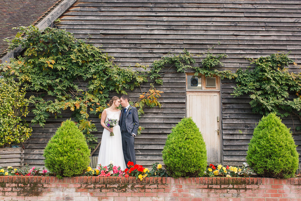 Bride and Groom at Autumnal Rivervale Barn wedding