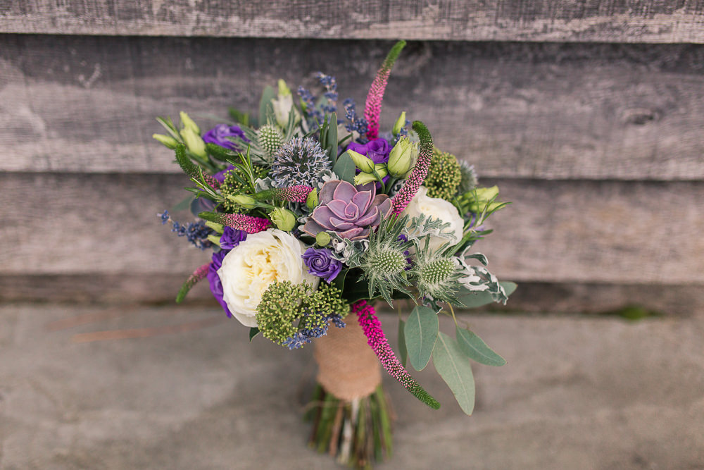 Wedding bouquet with thistles and succulents