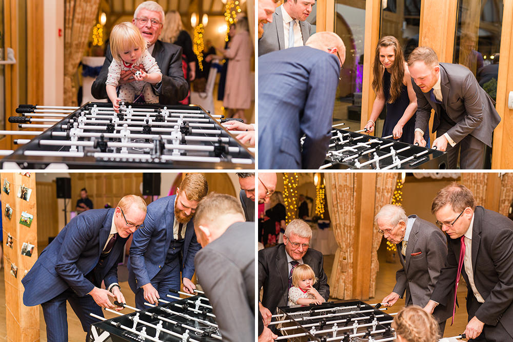 Table football at Rivervale Barn wedding