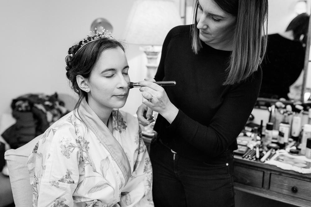 Bride gets ready at Gate Street Barn wedding