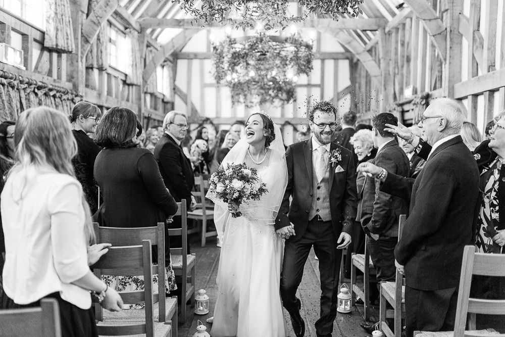wedding ceremony exit at Gate Street Barn