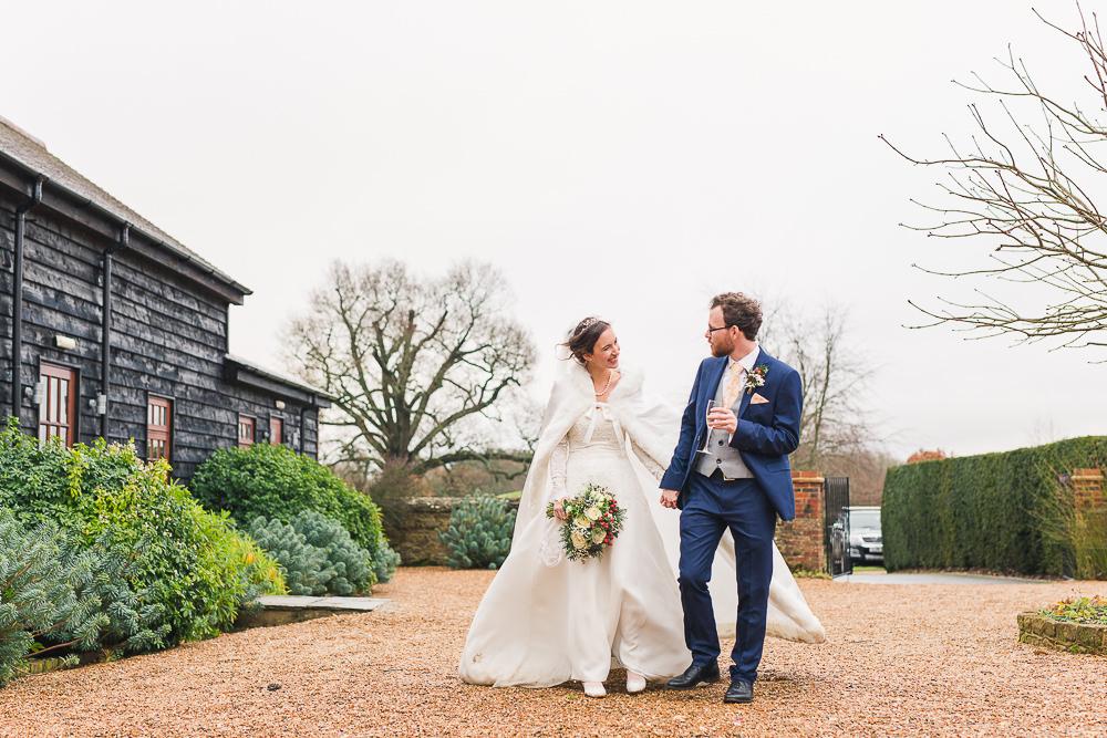 Natural couple photo at Gate Street Barn winter wedding