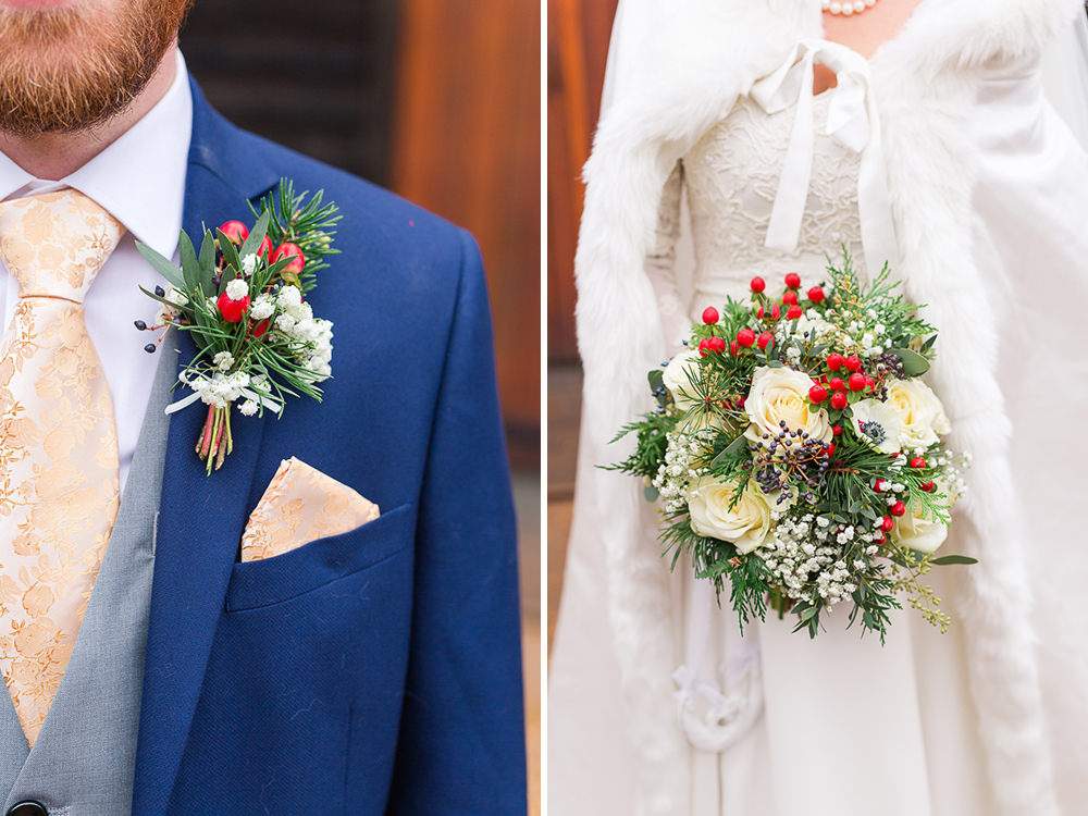 winter wedding bouquet and button hole