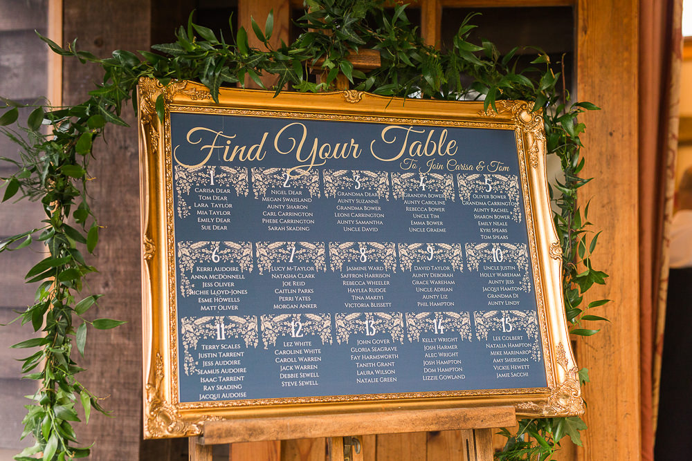 Navy and gold wedding table plan