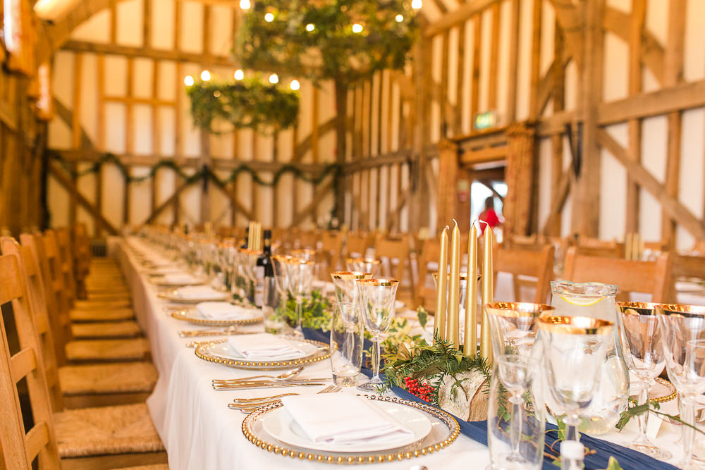 navy and gold barn wedding decor