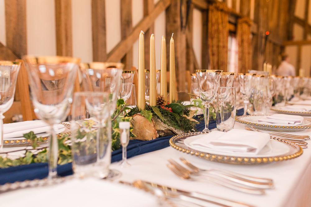 barn winter wedding decor