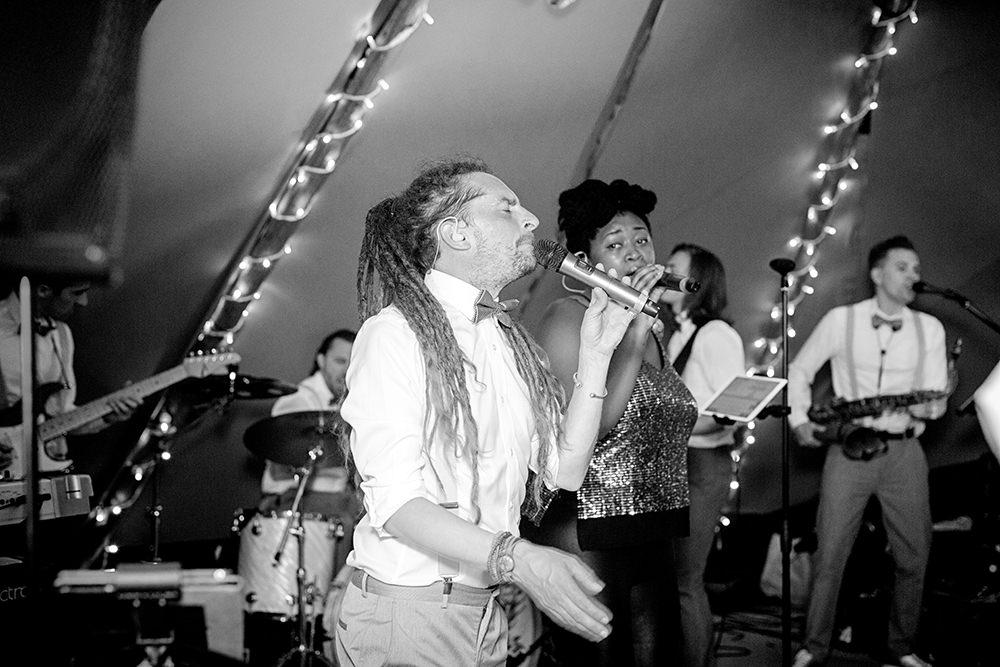 wedding band at teepee wedding