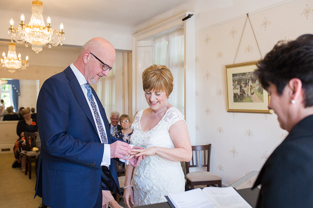 exchanging of the rings at Guildford registry office