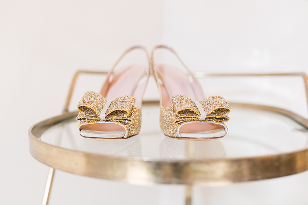 sparkly bow Kate Spade wedding shoes
