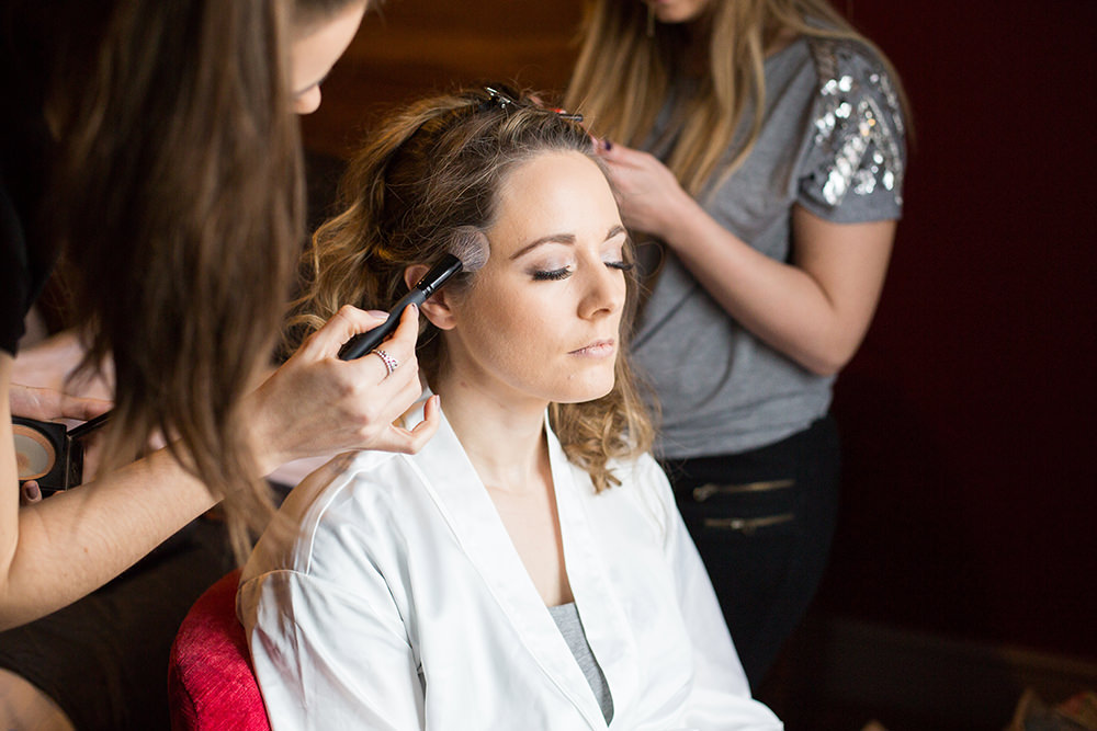Bride getting ready for Old Thorns Wedding
