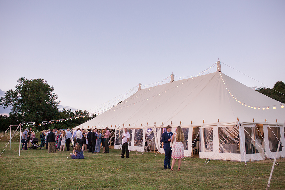 Wedding evening at marquee wedding