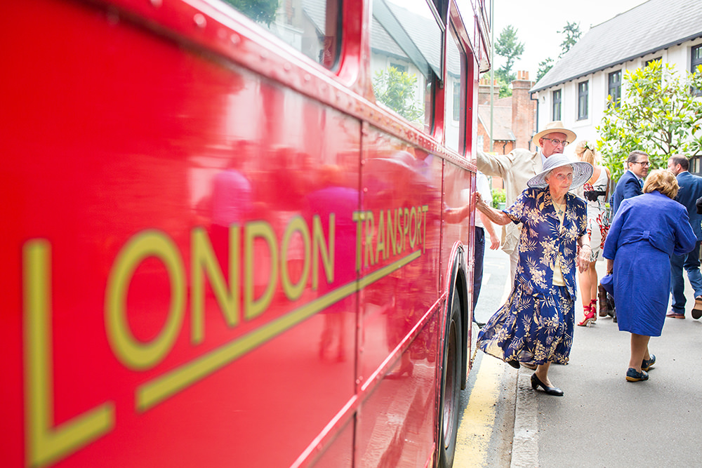 London bus taking wedding guests to ceremony
