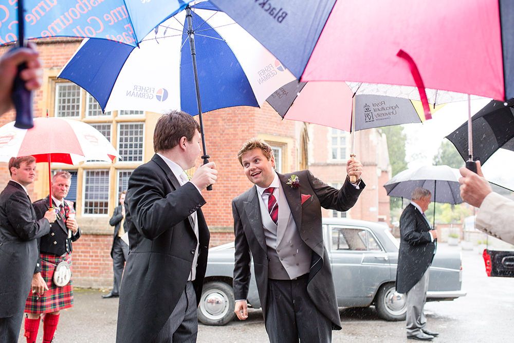 rain on wedding day as ceremony ends