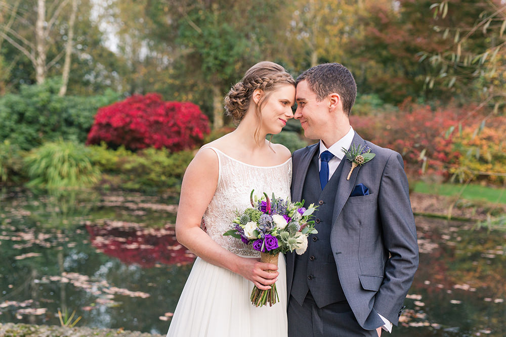 Autumnal bride and groom photo at Rivervale barn