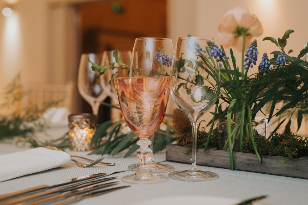 coloured wine glasses at millbridge court wedding