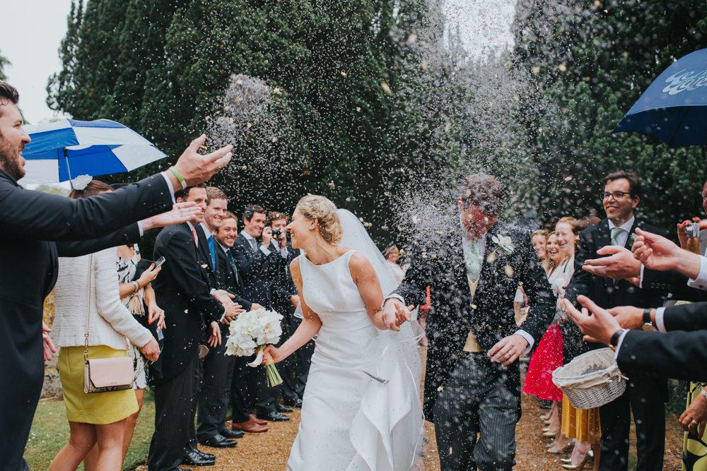 confetti on a rainy wedding day