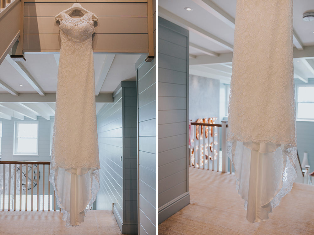 boho wedding dress hanging up