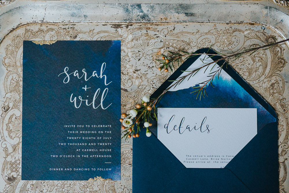 navy blue wedding invitations with calligraphy writing
