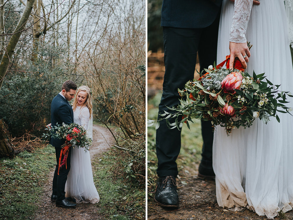 natural wedding photos in a forest