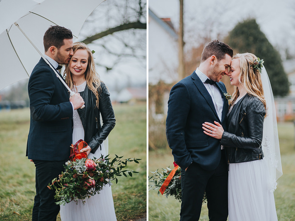 boho bride wearing leather jacket