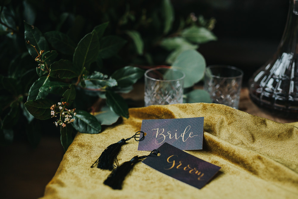 Wedding name labels in calligraphy