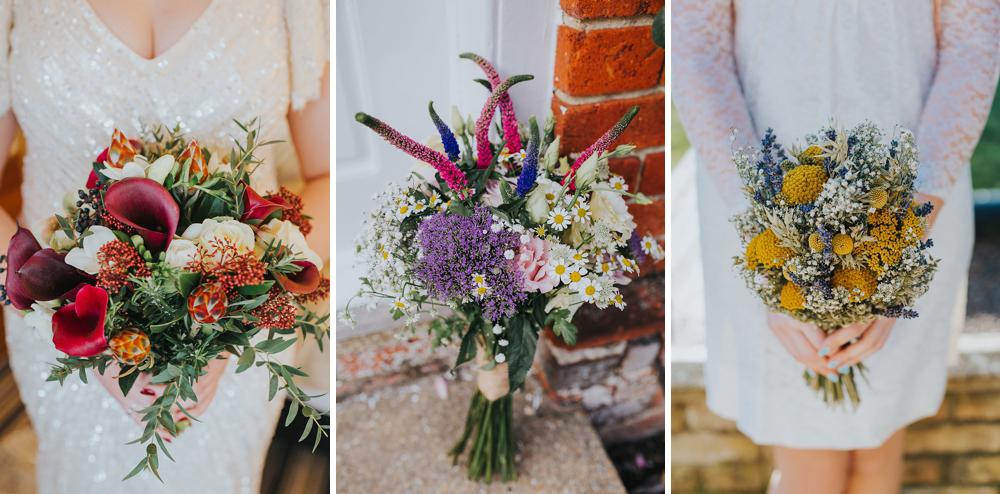 three alternative wedding bouquets