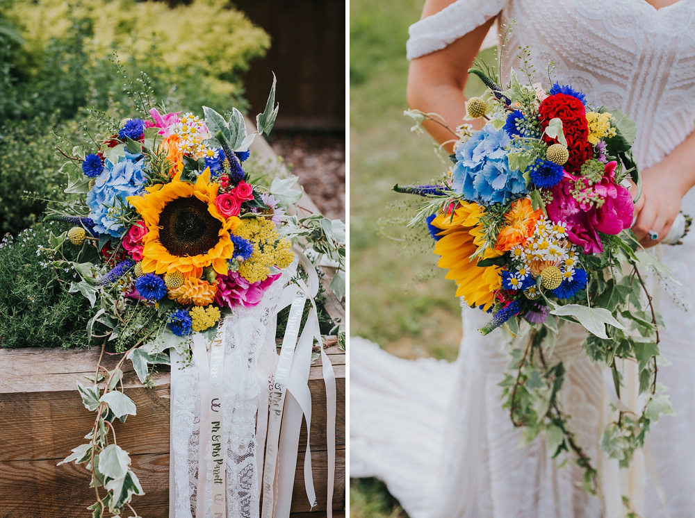 summer bouquet with sunflower in and ribbon
