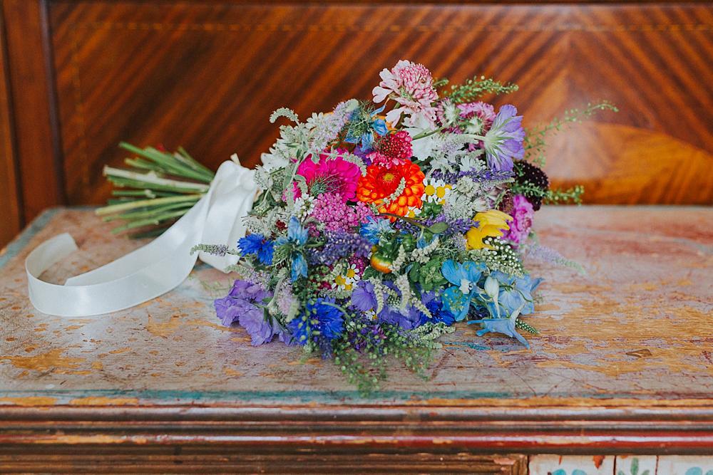 wild flower wedding bouquet with ribbon