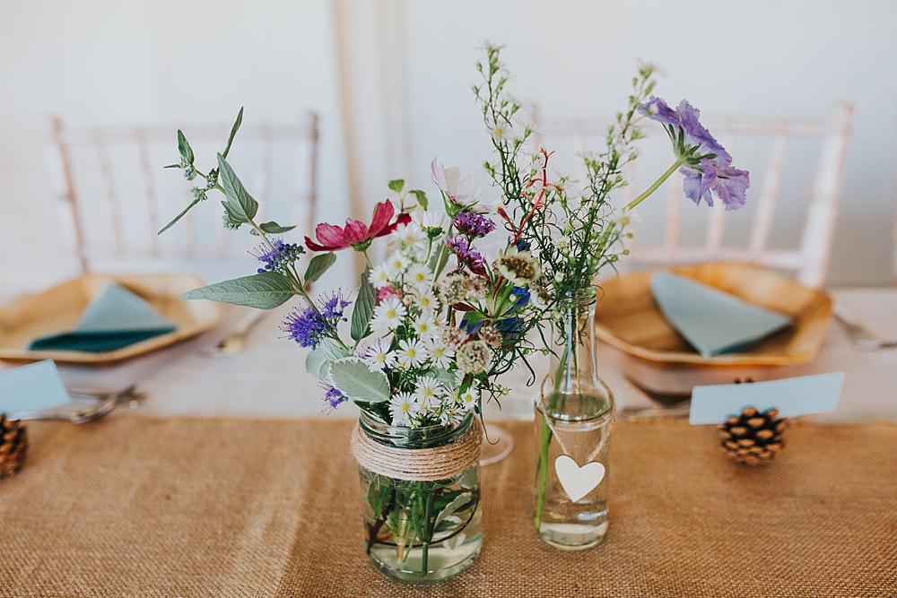 wedding wild flowers in jars