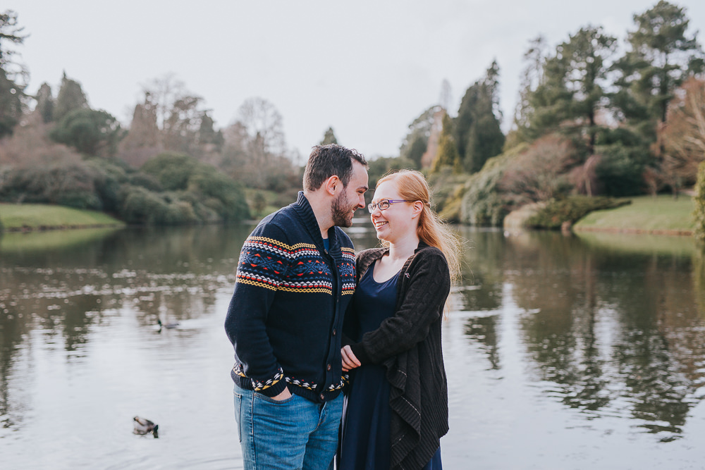 natural photo of engaged couple together at sheffield park