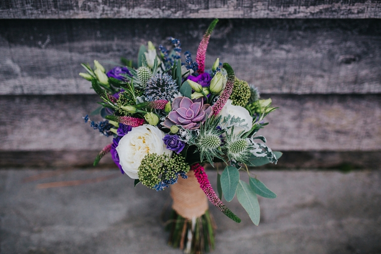 wedding bouquet with succulents in